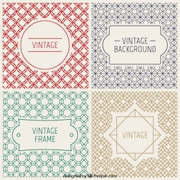 Vintage badges and decorative backgrounds