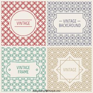 Vintage badges and decorative backgrounds