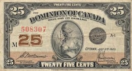 vintage banknote   dominion of canada  worn