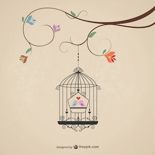 Vintage cage with birds