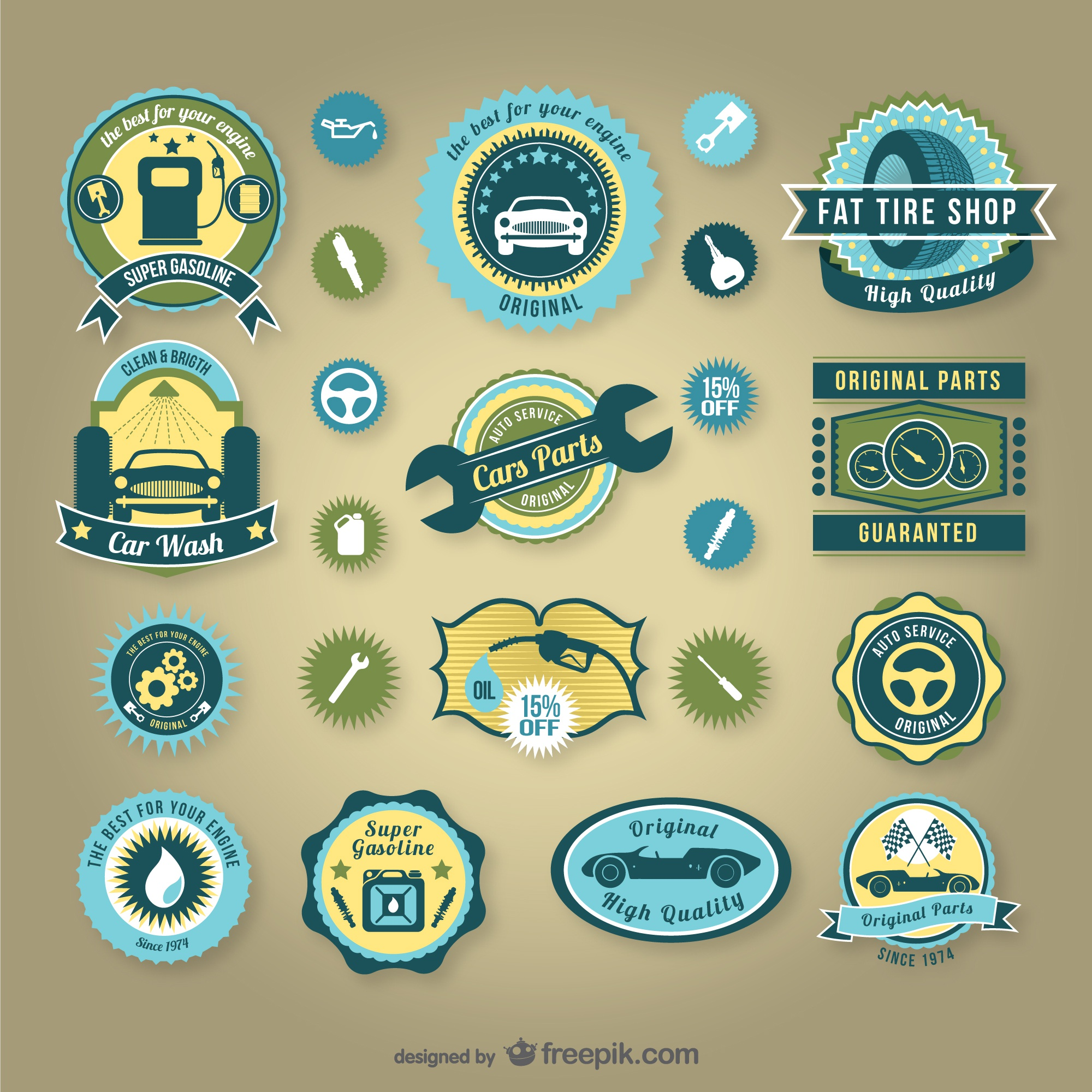 Vintage car service badges