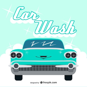 Vintage car wash vector