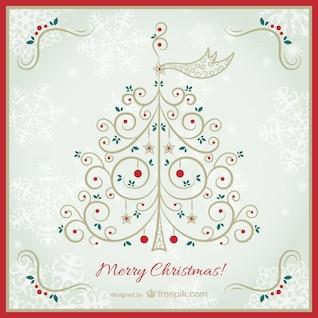Vintage Christmas card with elegant tree