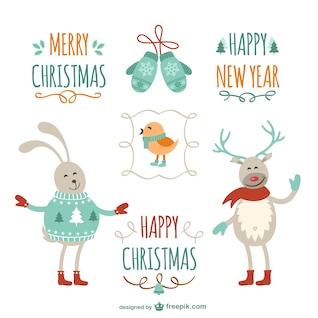 Vintage Christmas greetings with cartoons