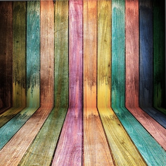 Vintage colorful wooden wall