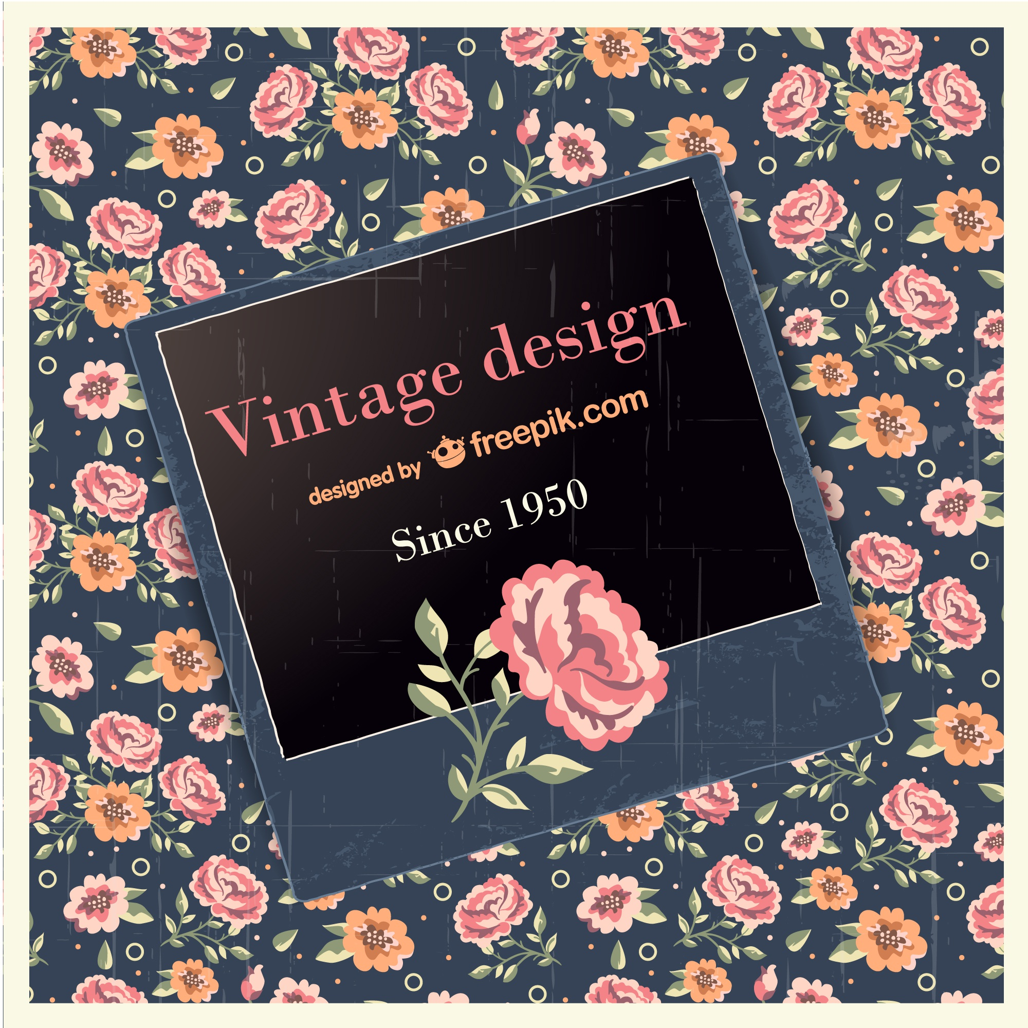 Vintage design with rose