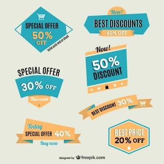 Vintage discounts vector labels