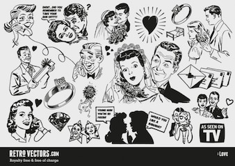 Vintage faces vector pack