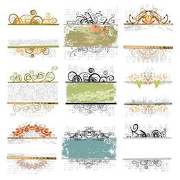 vintage floral frame vector set