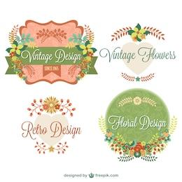 Vintage floral graphic elements design