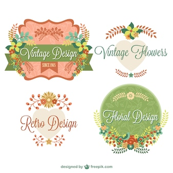 Vintage floral graphic elements design