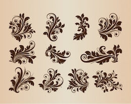 Vintage floral ornaments vector set