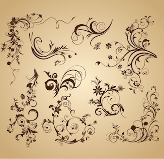 Vintage flowers design vector graphics