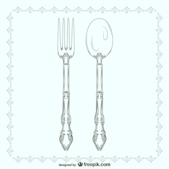Vintage fork and spoon illustration