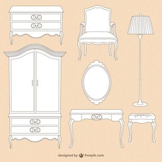 Vintage furniture illustrations