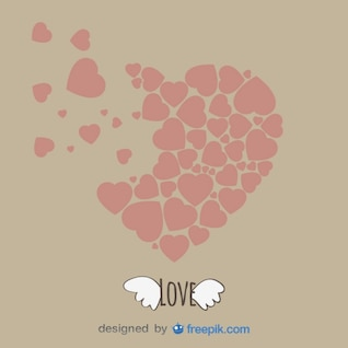 Vintage Heart Shape and Wings Template Design