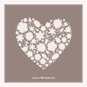 Vintage heart shape card