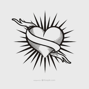 Vintage heart tattoo design