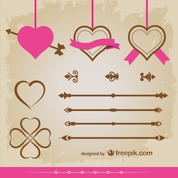 Vintage hearts ornaments vector set design