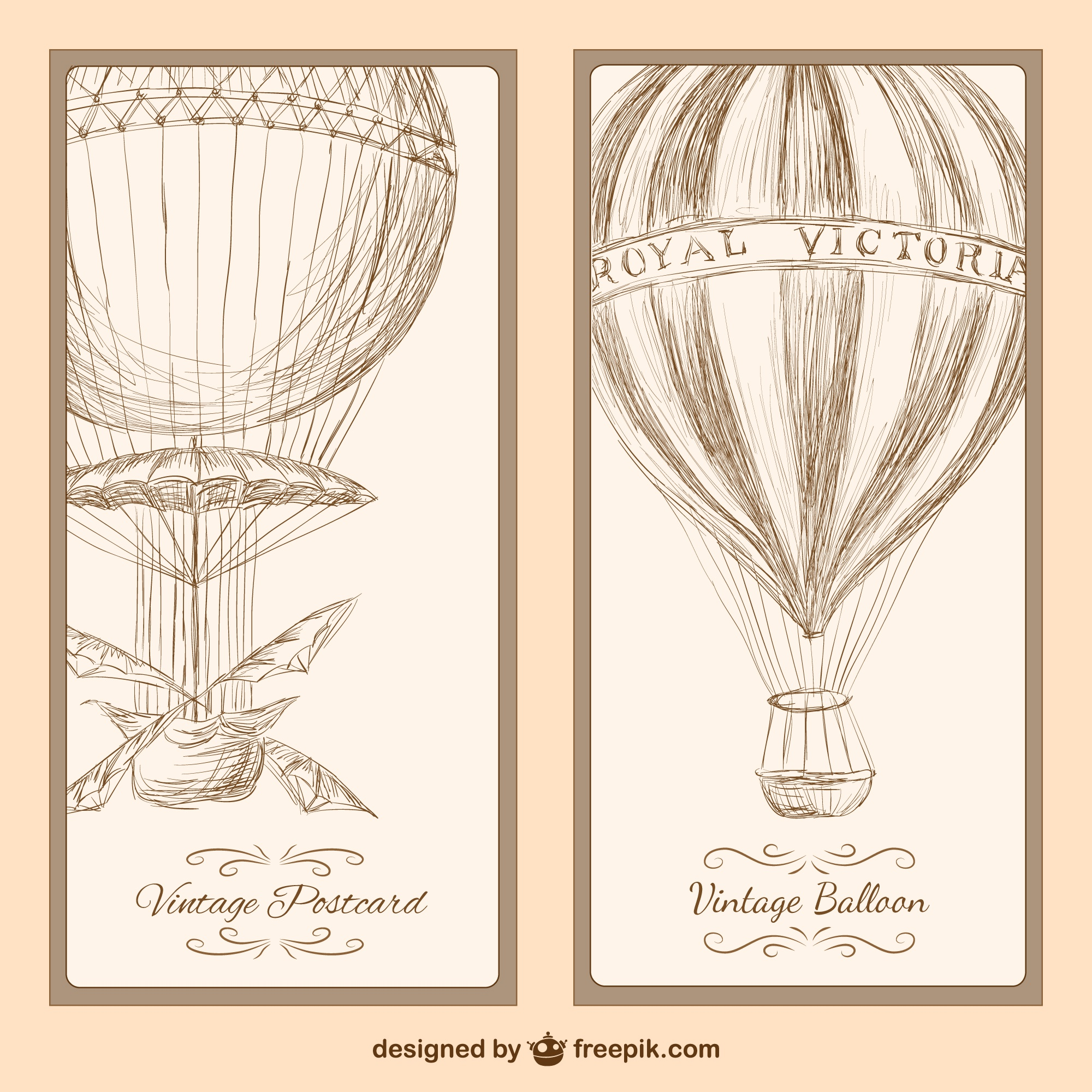 Vintage hot air balloon postcard