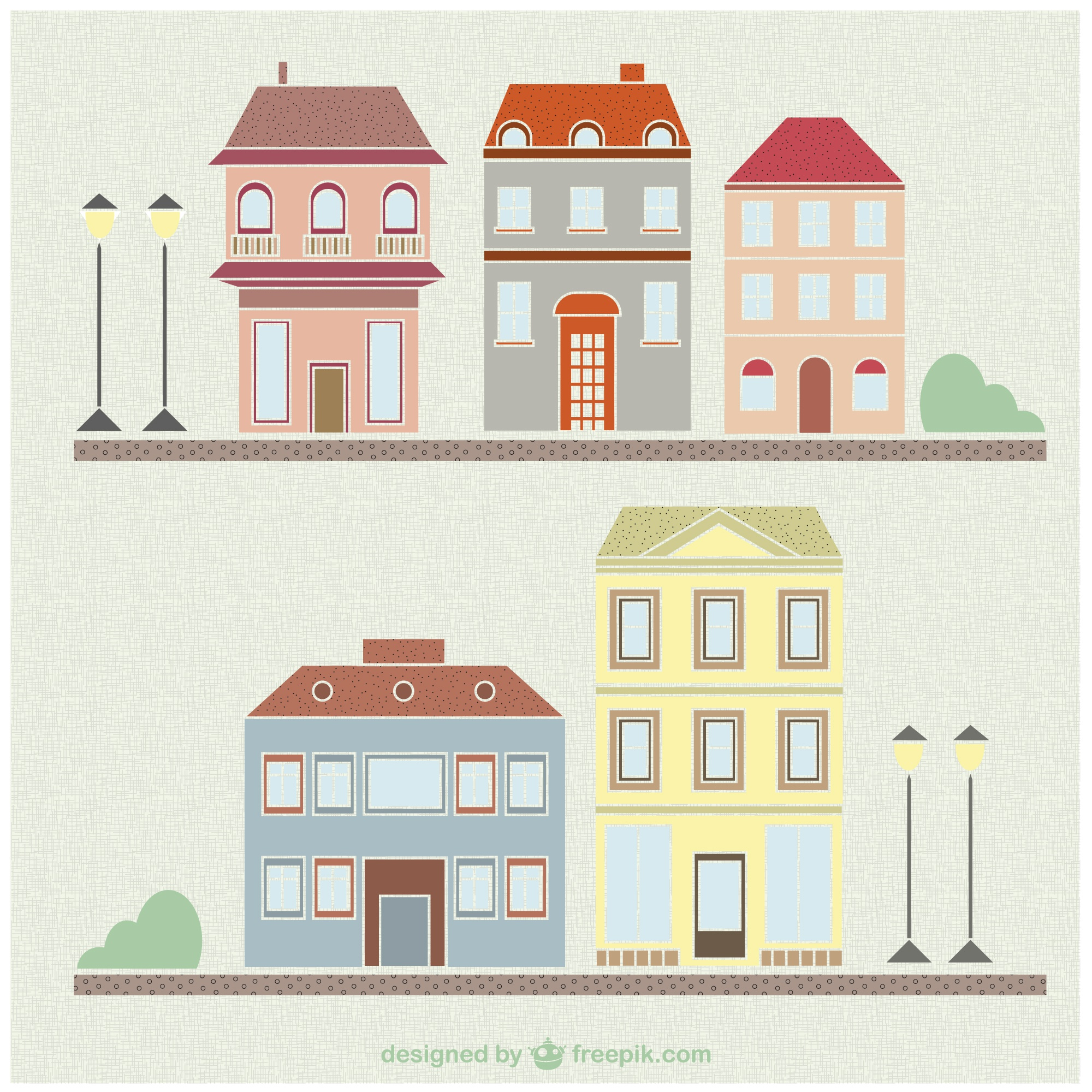 Vintage houses and buildings drawing set