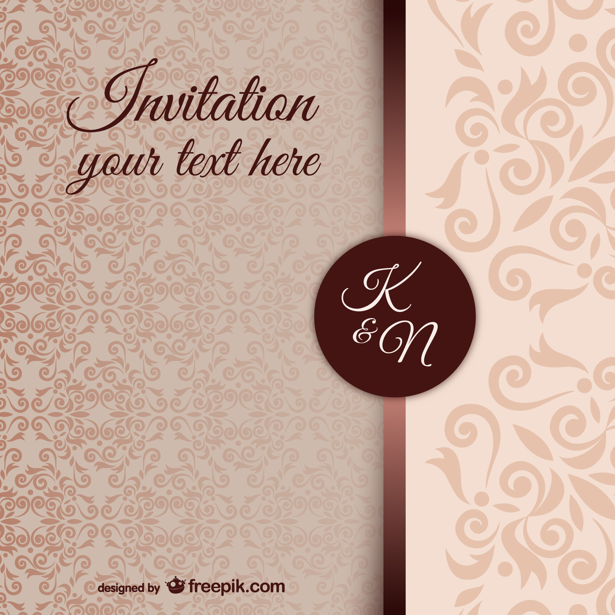 Vintage invitation template with damask pattern