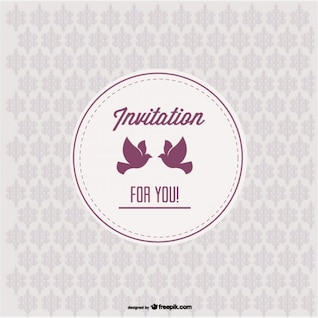 Vintage Invitation with Love Birds and Seamless Pattern Design