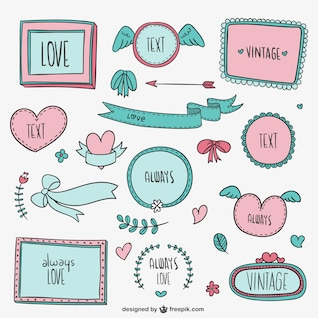 Vintage love frames and ornaments