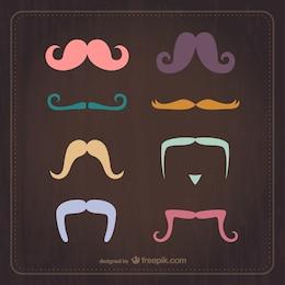 Vintage moustaches vector set