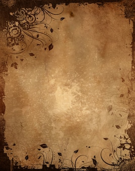 Vintage paper background with grunge floral design