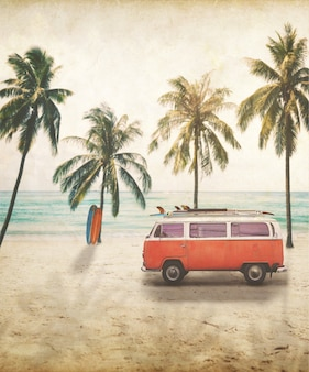 Vintage postcard of van with surfboard on roof at tropical beach concept of beach holiday in summer.