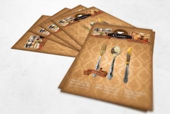 Vintage restaurant flyer with damask texture