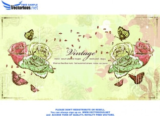 Vintage roses grunge background vector