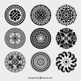 Vintage rounded ornaments vector pack