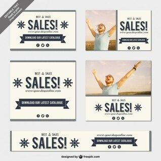 Vintage sales banner templates