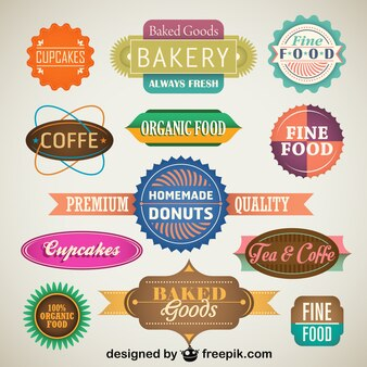 Vintage Set of Food Labels and Badges