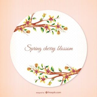 Vintage spring cherry blossom vector