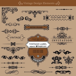Vintage swirls decorations free set