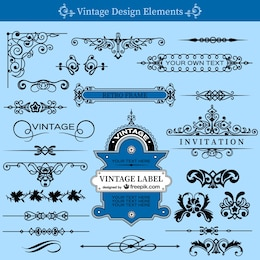 Vintage swirls template set