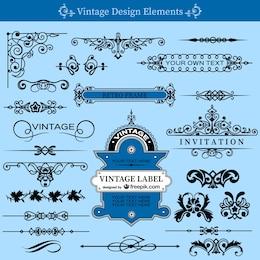 Vintage swirls template set
