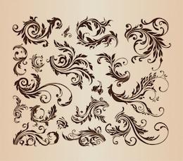 Vintage swirls vector collection