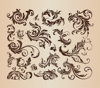Vintage swirls vector collection
