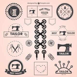 Vintage tailor symbols set
