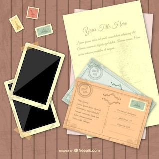 Vintage template with instant photographs