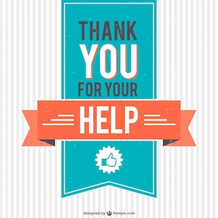Vintage thank you for your help vector