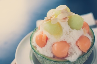 Vintage tone - Ice melon Bingsu, famous korean ice-cream.
