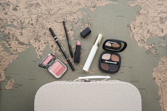 Vintage travel background with beauty accessories