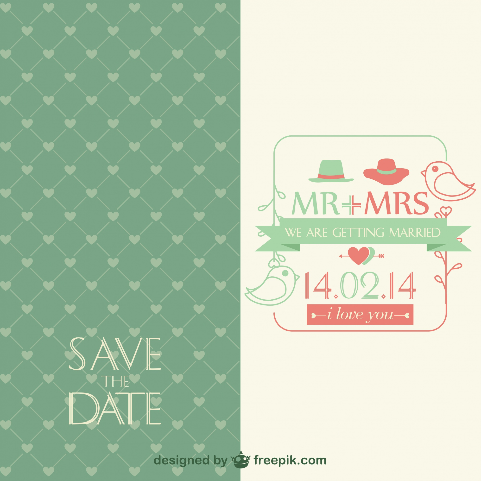 Vintage vector wedding invitation