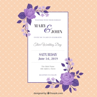 Vintage wedding card with purple roses