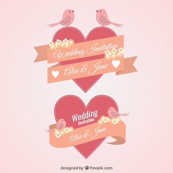 Vintage wedding invitation elements